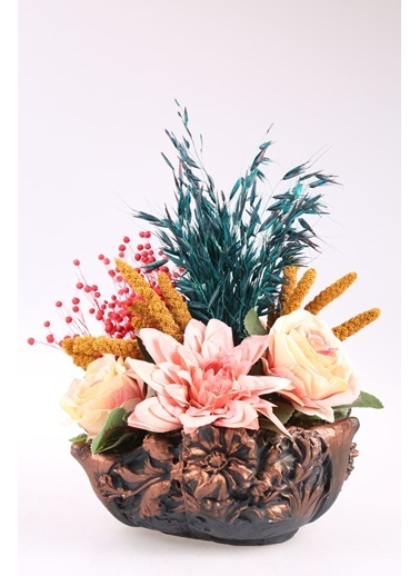 Kibrithane Çiçek Yapay Çiçek  Beton Saksı Kuru Çiçek Gül Aranjman Kc00200768 Renkli